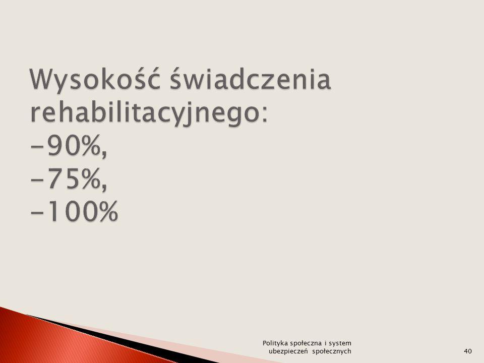 Wysokość świadczenia rehabilitacyjnego: -90%, -75%, -100%