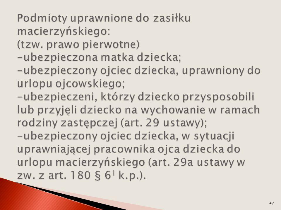 Podmioty uprawnione do zasiłku macierzyńskiego: (tzw