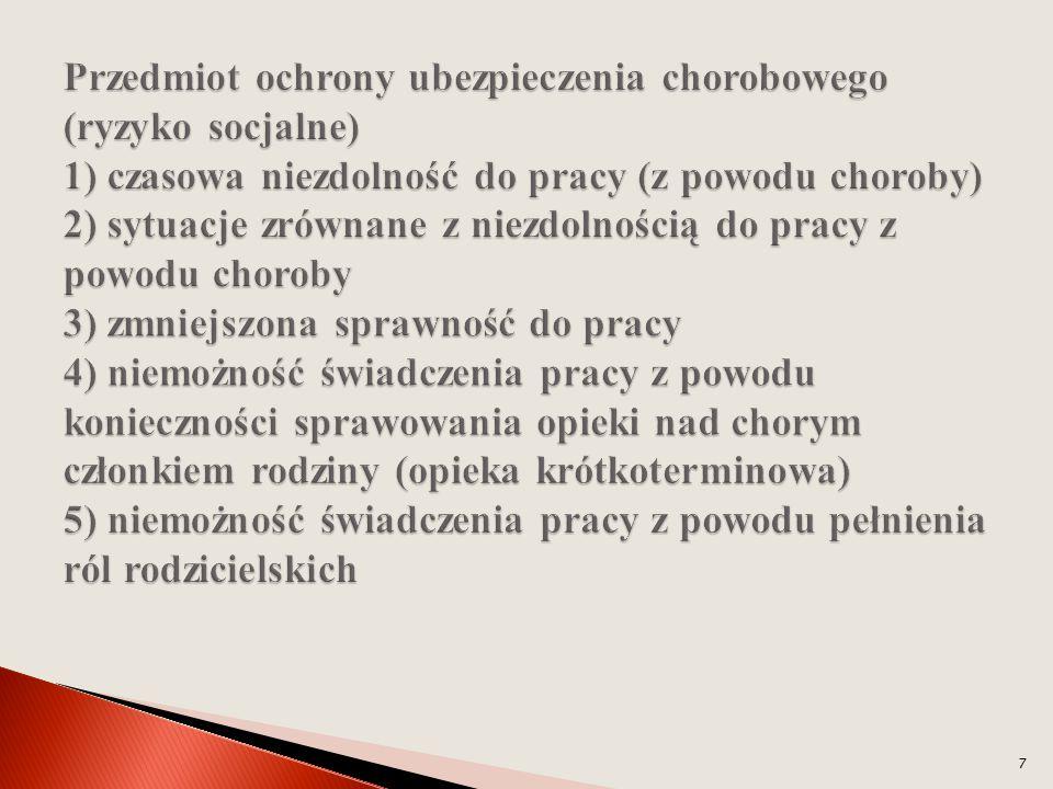 Przedmiot ochrony ubezpieczenia chorobowego (ryzyko socjalne) 1) czasowa niezdolność do pracy (z powodu choroby) 2) sytuacje zrównane z niezdolnością do pracy z powodu choroby 3) zmniejszona sprawność do pracy 4) niemożność świadczenia pracy z powodu konieczności sprawowania opieki nad chorym członkiem rodziny (opieka krótkoterminowa) 5) niemożność świadczenia pracy z powodu pełnienia ról rodzicielskich