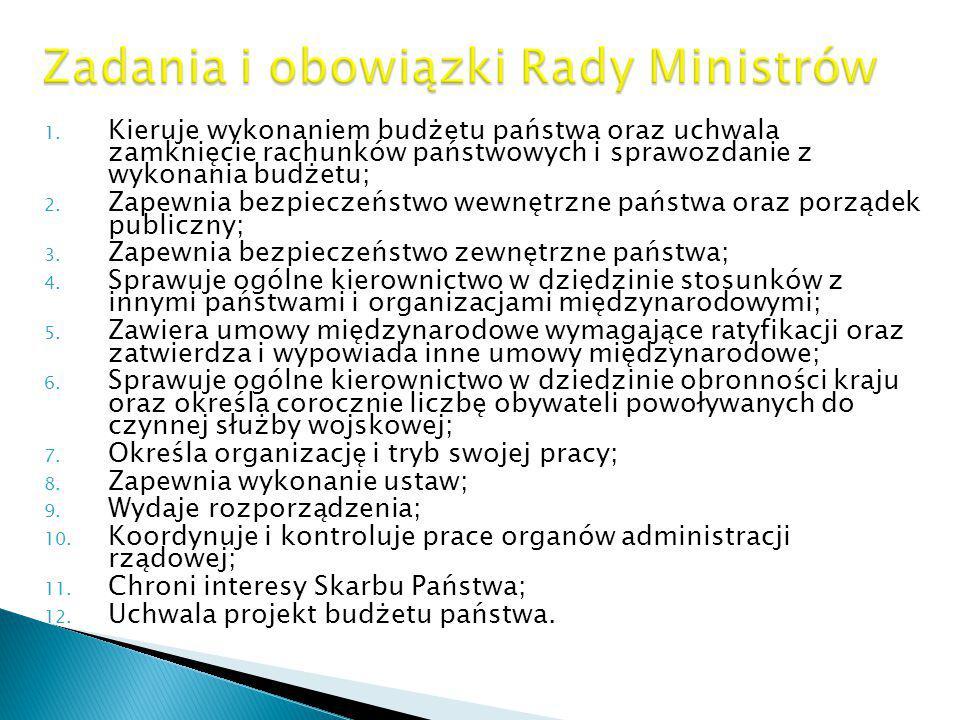 Zadania i obowiązki Rady Ministrów