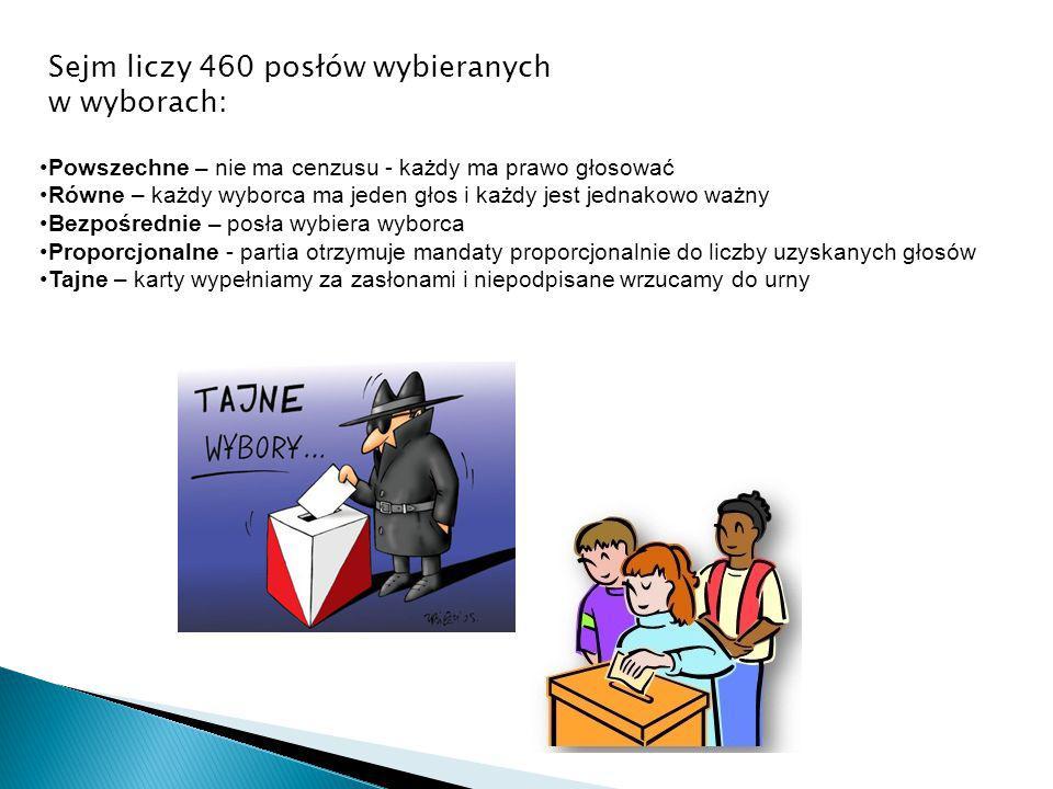 Sejm liczy 460 posłów wybieranych w wyborach:
