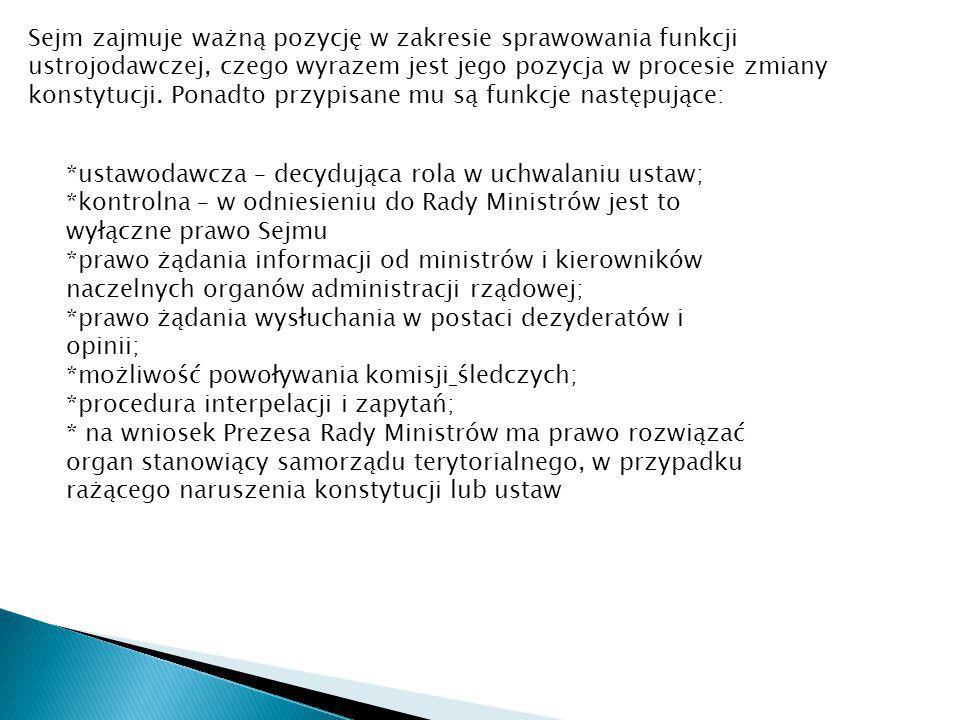 Sejm zajmuje ważną pozycję w zakresie sprawowania funkcji ustrojodawczej, czego wyrazem jest jego pozycja w procesie zmiany konstytucji. Ponadto przypisane mu są funkcje następujące: