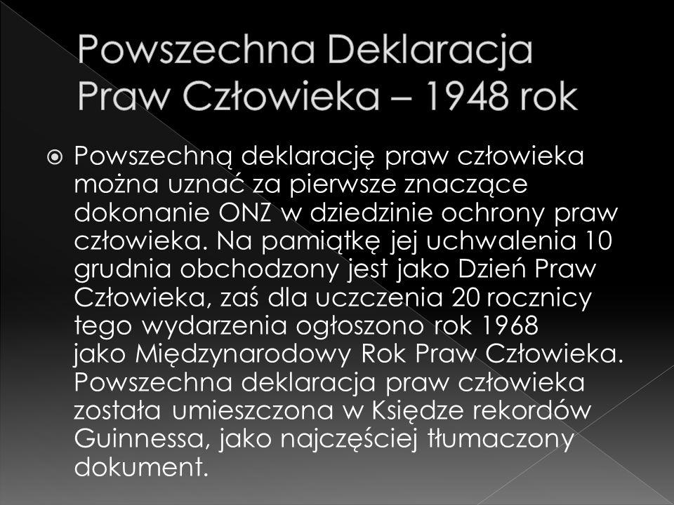 Powszechna Deklaracja Praw Człowieka – 1948 rok