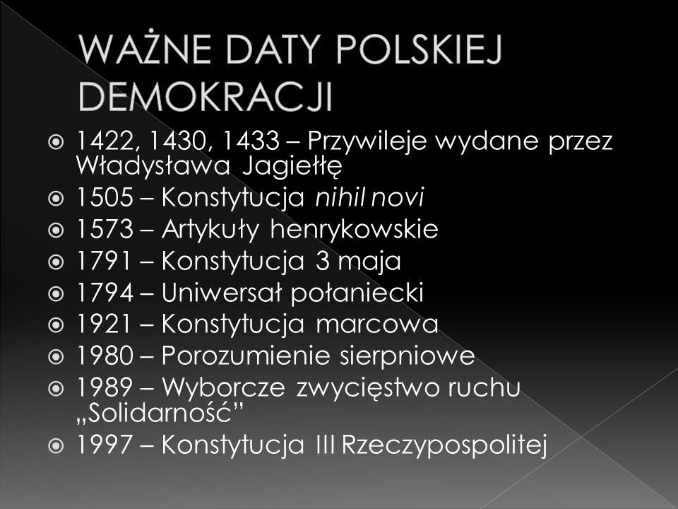 WAŻNE DATY POLSKIEJ DEMOKRACJI
