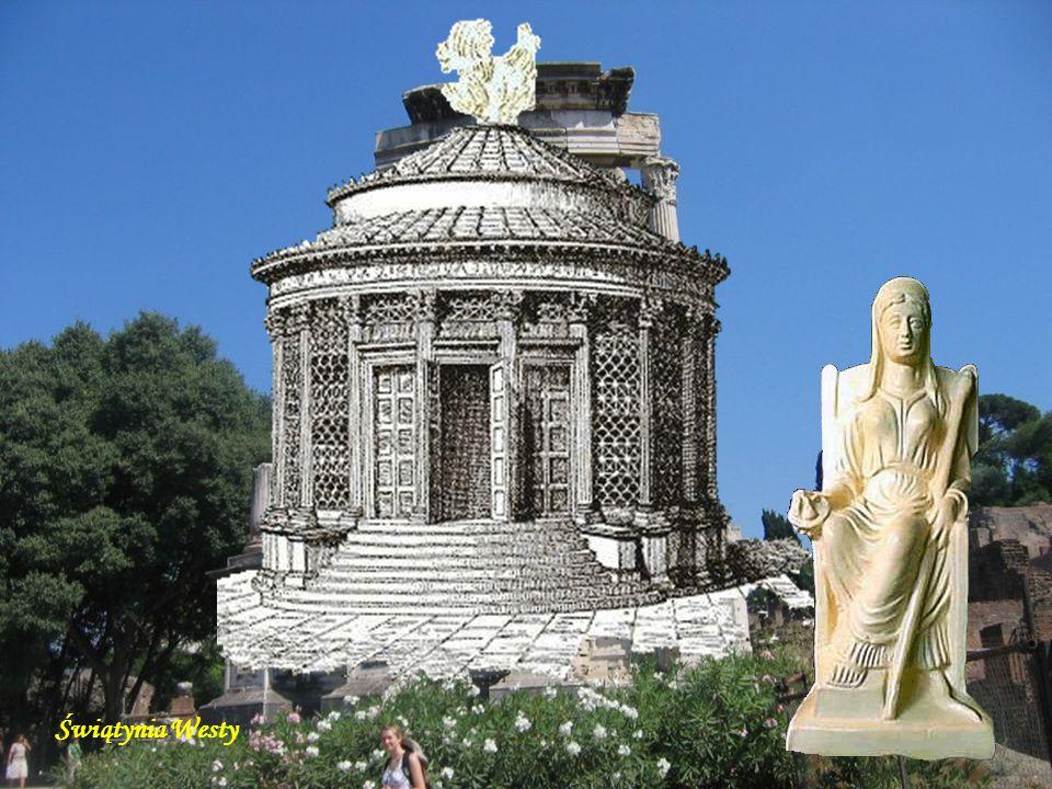 Świątynia Westy (Tempio di Vesta) - jedna z najstarszych w Rzymie, obecny wygląd uzyskała w 191 r. p.n.e. W niej płonął święty ogień Westy, którego zgaśnięcie miało symbolizować nadchodzące klęski.