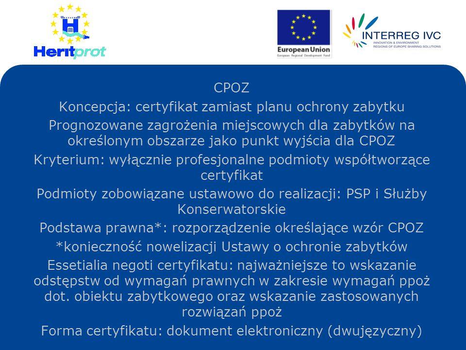 Koncepcja: certyfikat zamiast planu ochrony zabytku