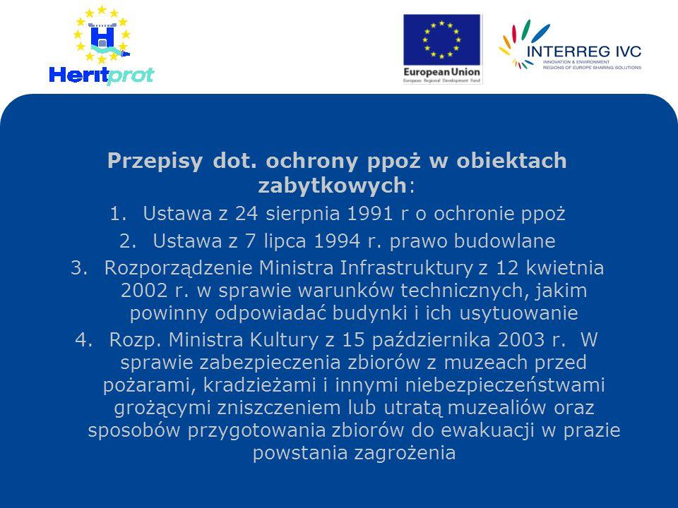Przepisy dot. ochrony ppoż w obiektach zabytkowych: