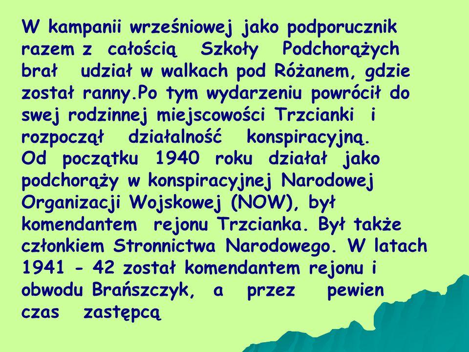 W kampanii wrześniowej jako podporucznik razem z całością Szkoły Podchorążych brał udział w walkach pod Różanem, gdzie został ranny.Po tym wydarzeniu powrócił do swej rodzinnej miejscowości Trzcianki i rozpoczął działalność konspiracyjną.