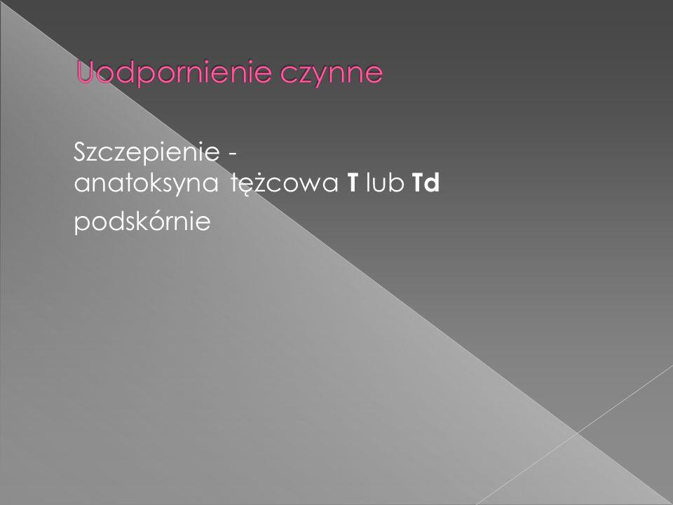 Szczepienie - anatoksyna tężcowa T lub Td