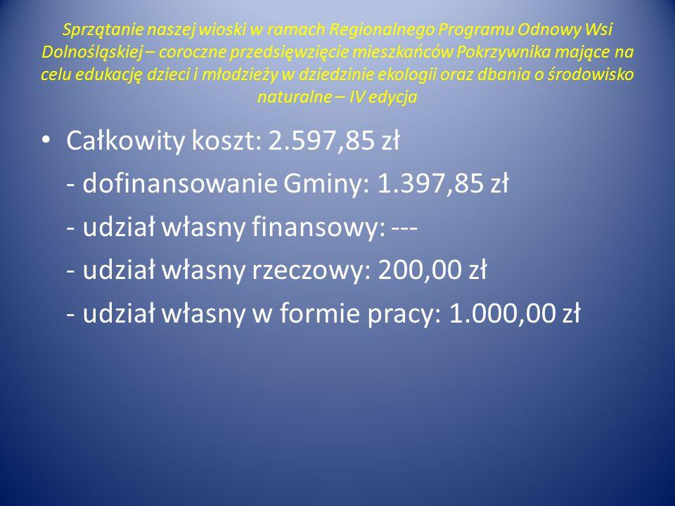 - dofinansowanie Gminy: 1.397,85 zł - udział własny finansowy: ---
