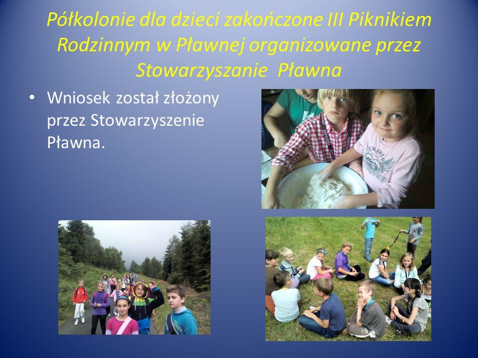 Półkolonie dla dzieci zakończone III Piknikiem Rodzinnym w Pławnej organizowane przez Stowarzyszanie Pławna