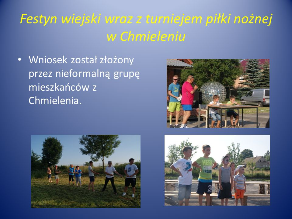 Festyn wiejski wraz z turniejem piłki nożnej w Chmieleniu