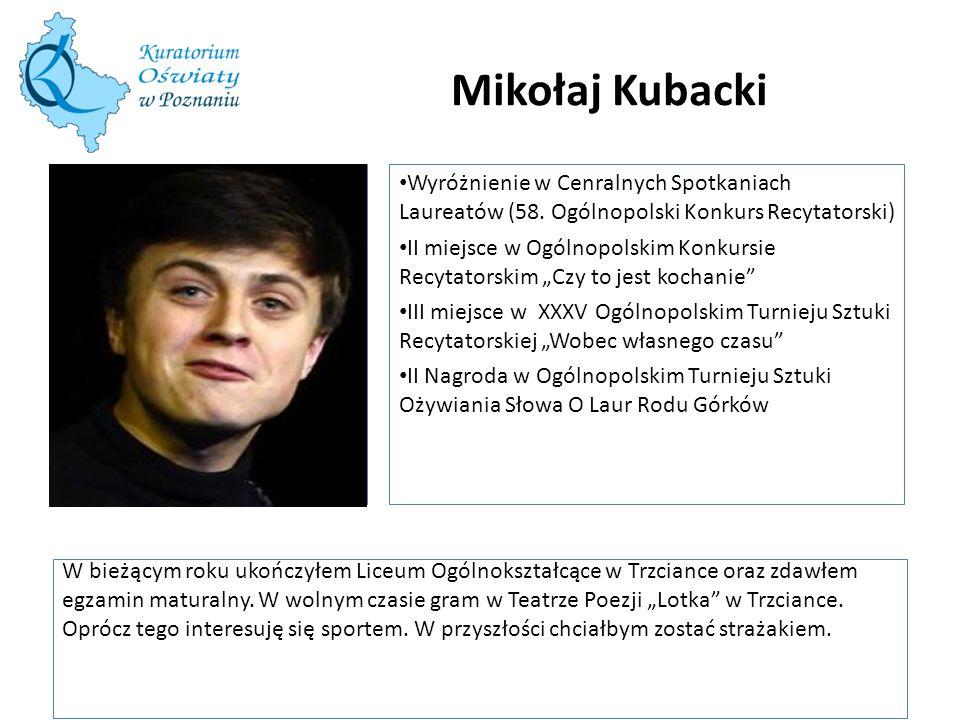 Mikołaj Kubacki W tę ramkę wstaw zdjęcie