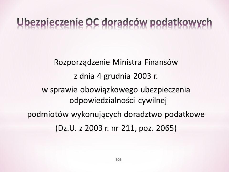 Ubezpieczenie OC doradców podatkowych