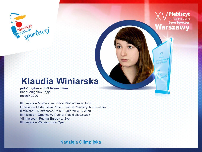 Klaudia Winiarska Nadzieja Olimpijska judo/jiu-jitsu – UKS Ronin Team
