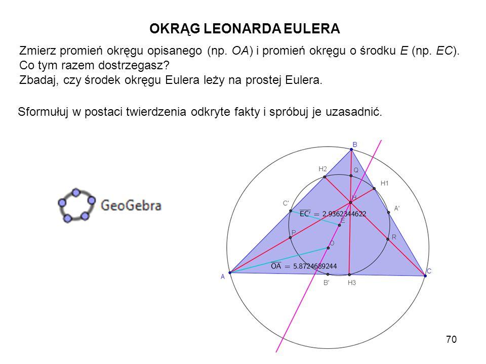 OKRĄG LEONARDA EULERA Zmierz promień okręgu opisanego (np. OA) i promień okręgu o środku E (np. EC).