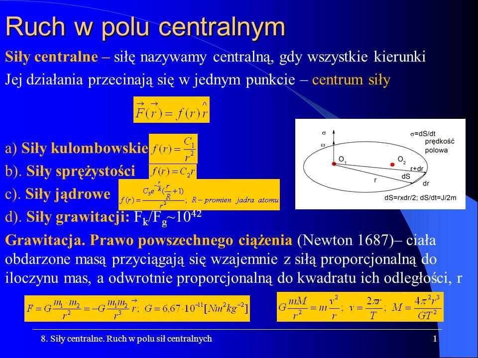 Ruch w polu centralnym Siły centralne – siłę nazywamy centralną, gdy wszystkie kierunki.