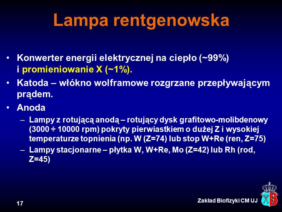Lampa rentgenowska Konwerter energii elektrycznej na ciepło (~99%) i promieniowanie X (~1%).