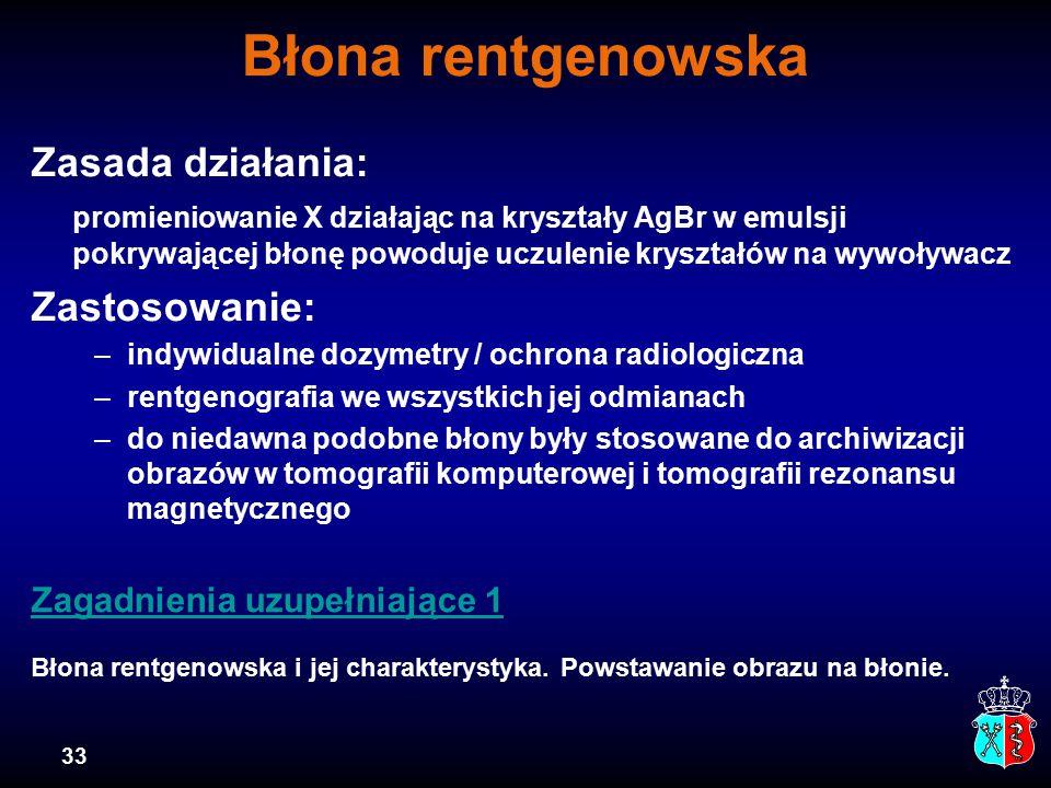 Błona rentgenowska Zasada działania: Zastosowanie: