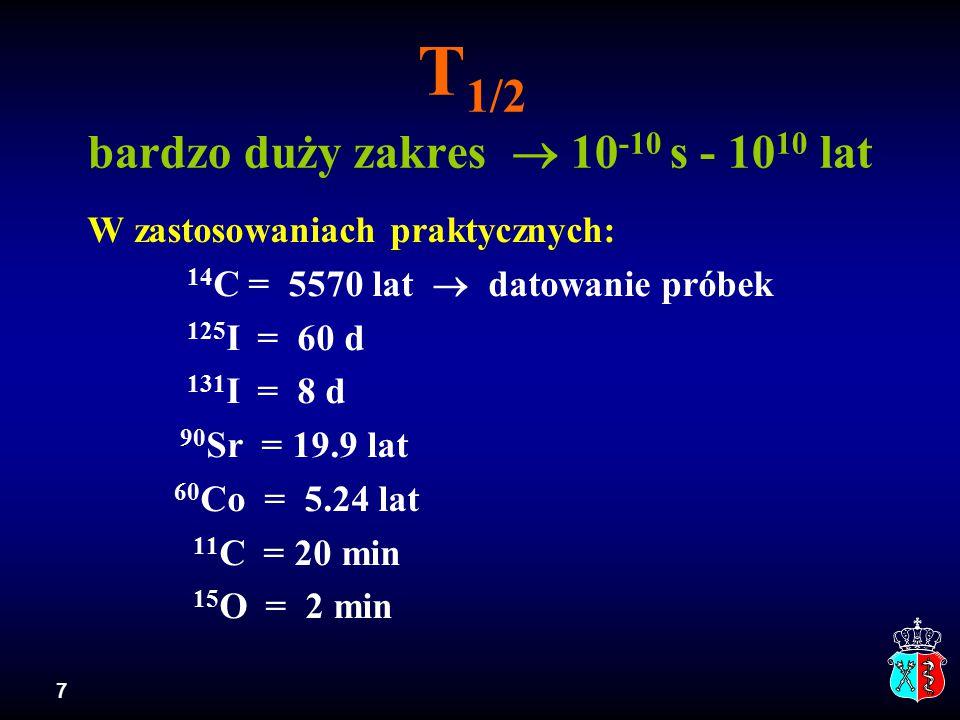 T1/2 bardzo duży zakres  10-10 s - 1010 lat