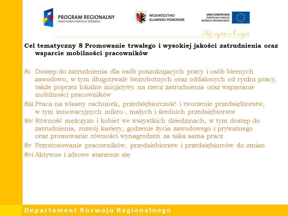 Cel tematyczny 8 Promowanie trwałego i wysokiej jakości zatrudnienia oraz wsparcie mobilności pracowników