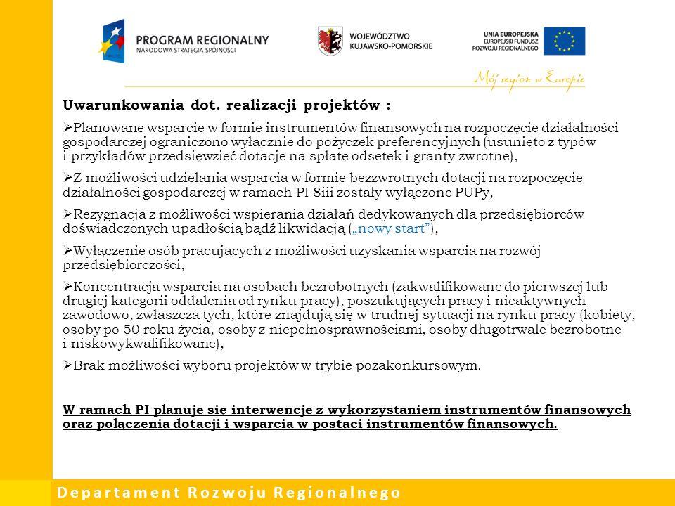 Uwarunkowania dot. realizacji projektów :