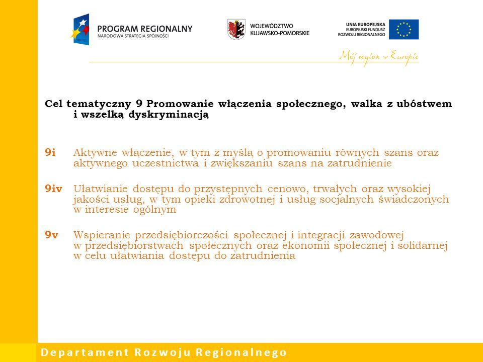Cel tematyczny 9 Promowanie włączenia społecznego, walka z ubóstwem i wszelką dyskryminacją