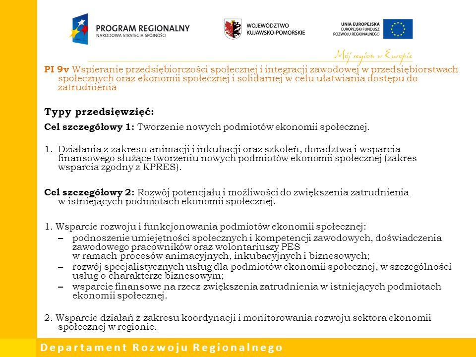 PI 9v Wspieranie przedsiębiorczości społecznej i integracji zawodowej w przedsiębiorstwach społecznych oraz ekonomii społecznej i solidarnej w celu ułatwiania dostępu do zatrudnienia