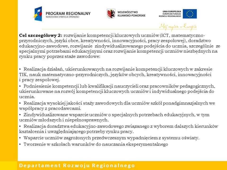 Cel szczegółowy 2: rozwijanie kompetencji kluczowych uczniów (ICT, matematyczno-przyrodniczych, języki obce, kreatywności, innowacyjności, pracy zespołowej), doradztwo edukacyjno-zawodowe, rozwijanie zindywidualizowanego podejścia do ucznia, szczególnie ze specjalnymi potrzebami edukacyjnymi oraz rozwijanie kompetencji uczniów niezbędnych na rynku pracy poprzez staże zawodowe: