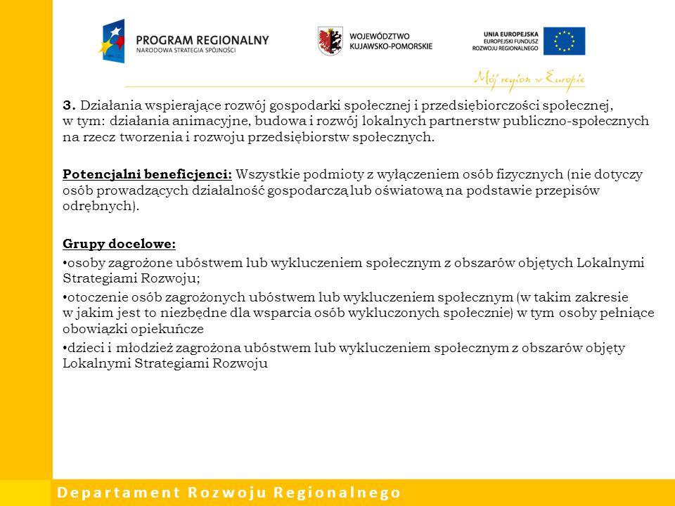3. Działania wspierające rozwój gospodarki społecznej i przedsiębiorczości społecznej, w tym: działania animacyjne, budowa i rozwój lokalnych partnerstw publiczno-społecznych na rzecz tworzenia i rozwoju przedsiębiorstw społecznych.