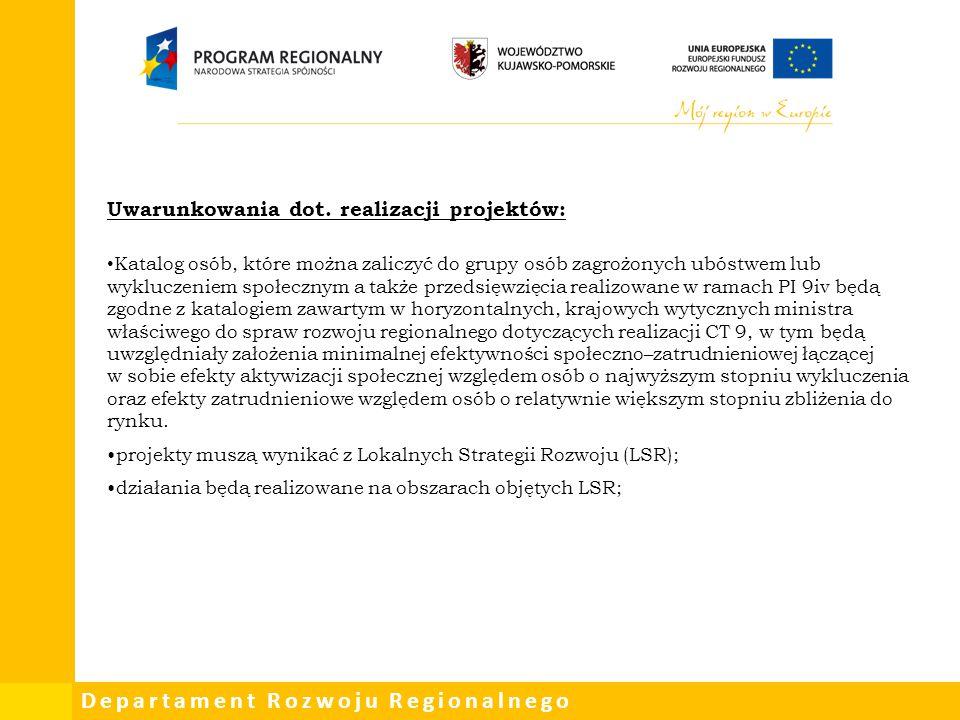 Uwarunkowania dot. realizacji projektów: