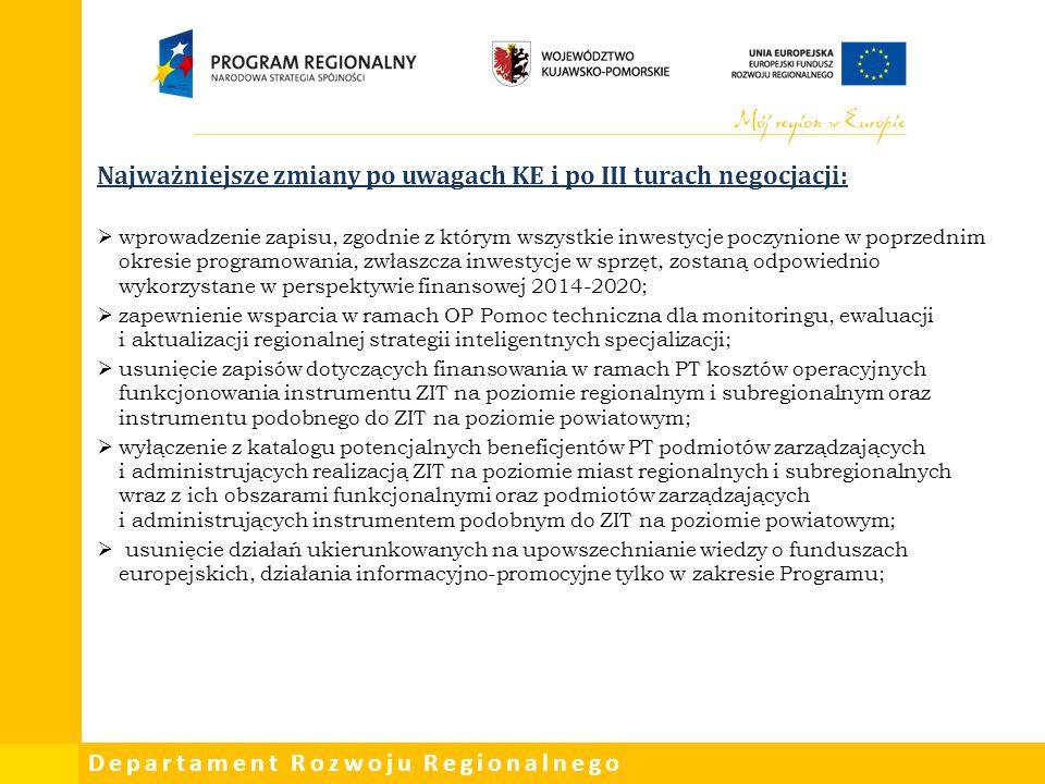 Najważniejsze zmiany po uwagach KE i po III turach negocjacji: