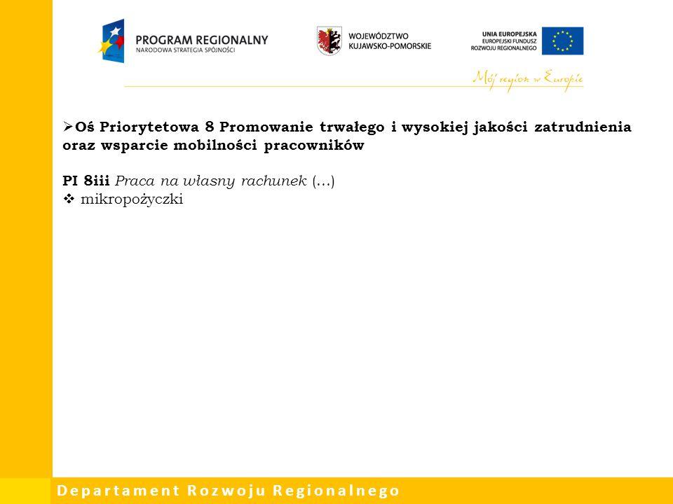 Oś Priorytetowa 8 Promowanie trwałego i wysokiej jakości zatrudnienia oraz wsparcie mobilności pracowników