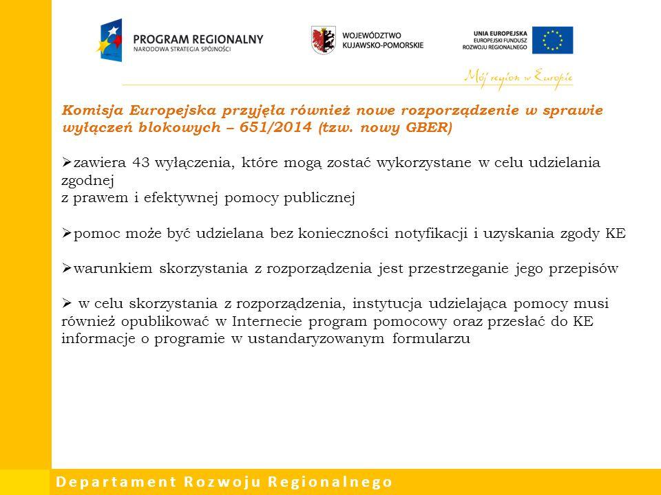 Komisja Europejska przyjęła również nowe rozporządzenie w sprawie wyłączeń blokowych – 651/2014 (tzw. nowy GBER)
