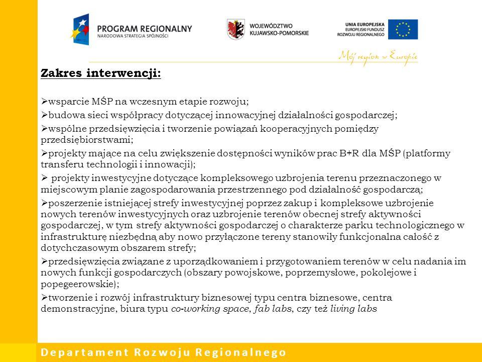 Zakres interwencji: wsparcie MŚP na wczesnym etapie rozwoju;