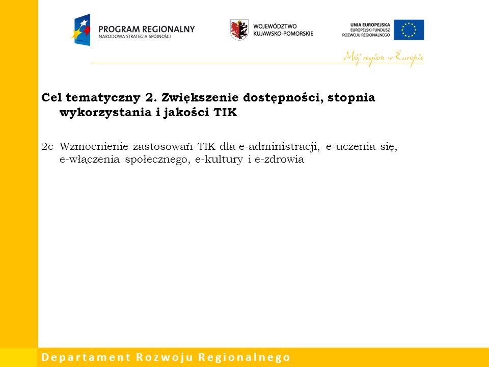 Cel tematyczny 2. Zwiększenie dostępności, stopnia wykorzystania i jakości TIK