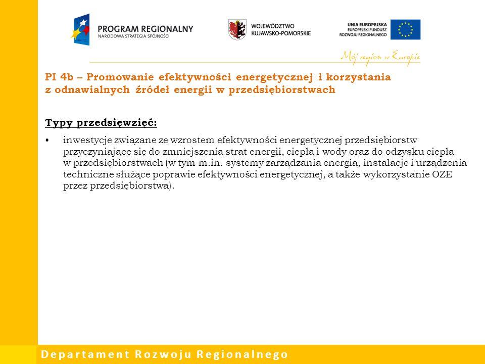 PI 4b – Promowanie efektywności energetycznej i korzystania z odnawialnych źródeł energii w przedsiębiorstwach