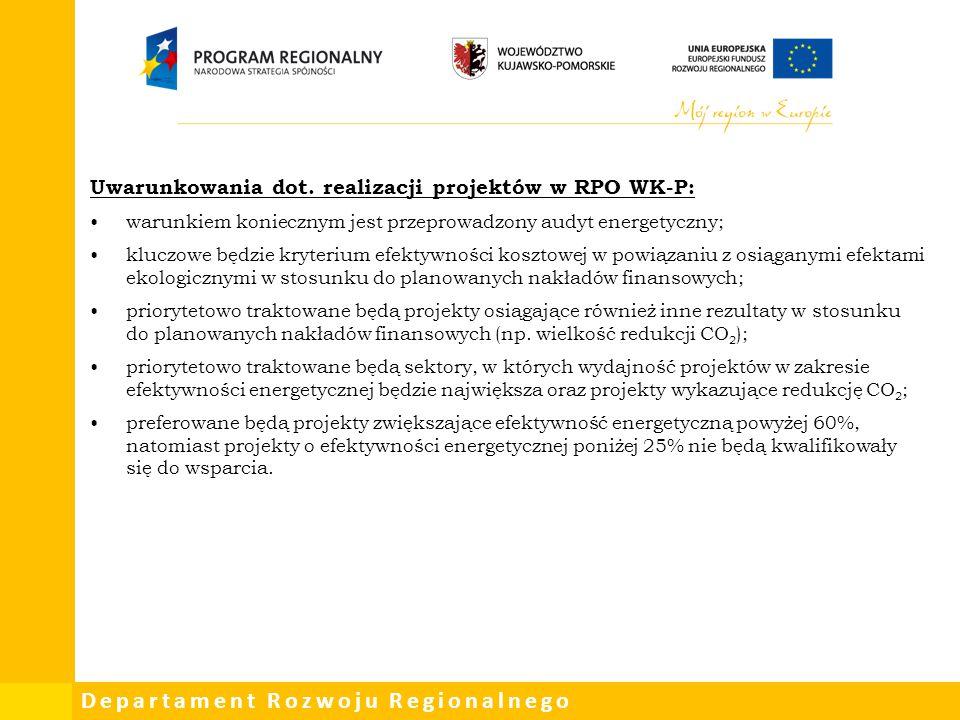 Uwarunkowania dot. realizacji projektów w RPO WK-P: