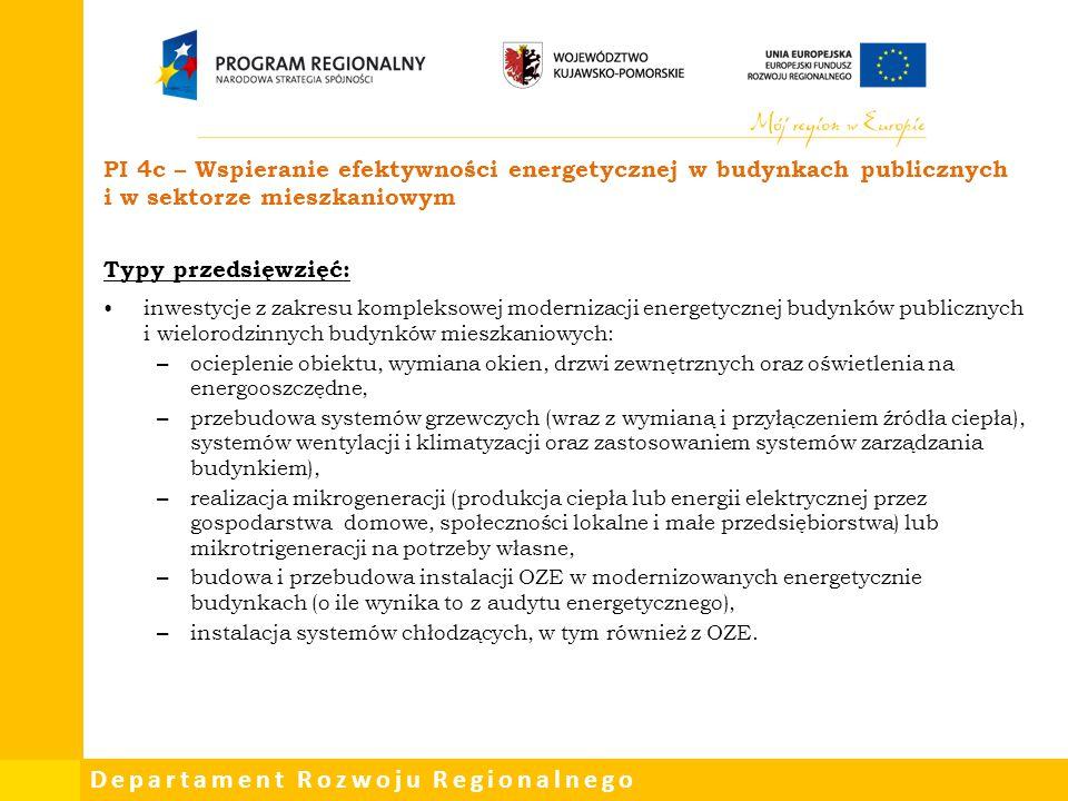 PI 4c – Wspieranie efektywności energetycznej w budynkach publicznych i w sektorze mieszkaniowym
