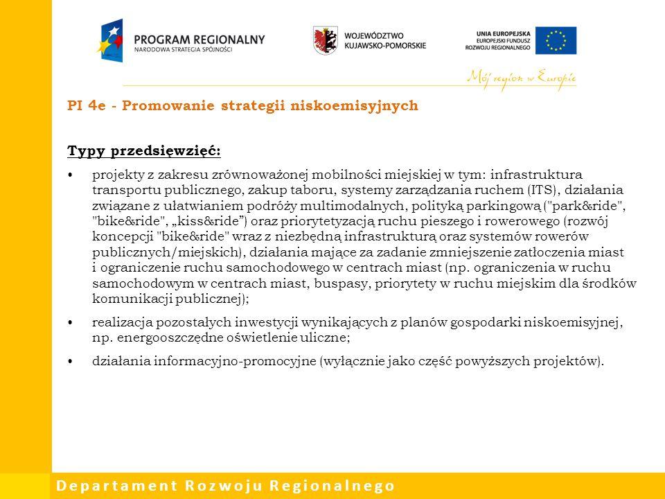 PI 4e - Promowanie strategii niskoemisyjnych Typy przedsięwzięć: