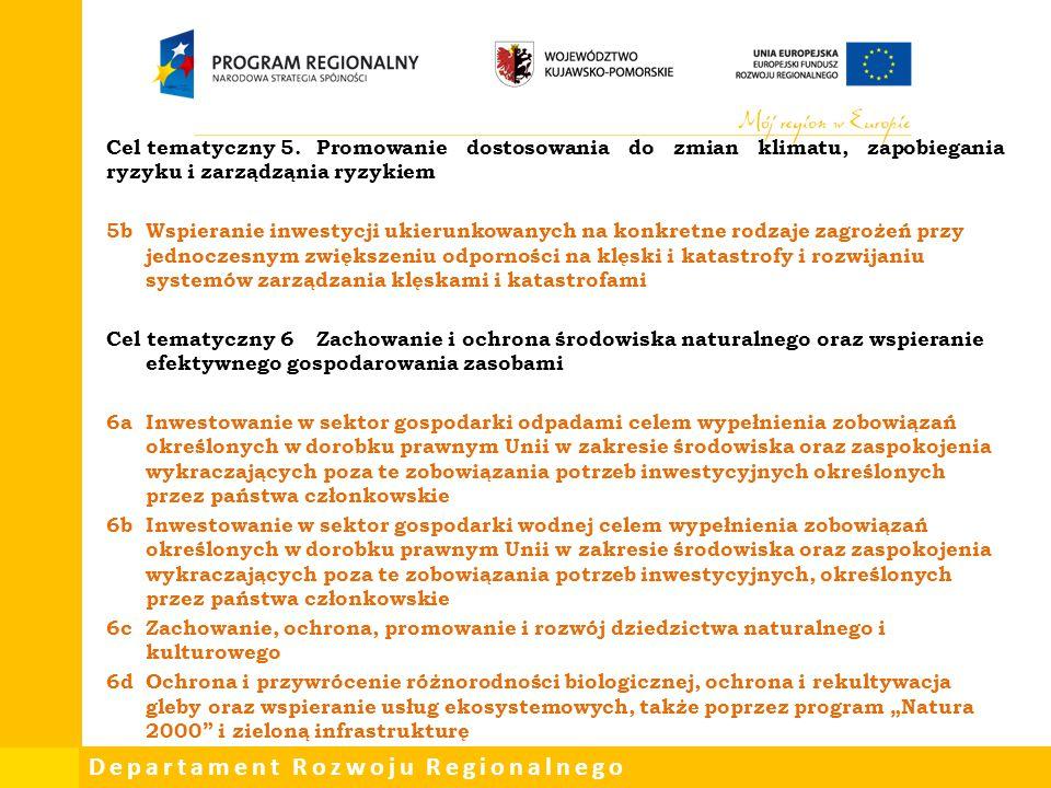 Cel tematyczny 5. Promowanie dostosowania do zmian klimatu, zapobiegania ryzyku i zarządząnia ryzykiem