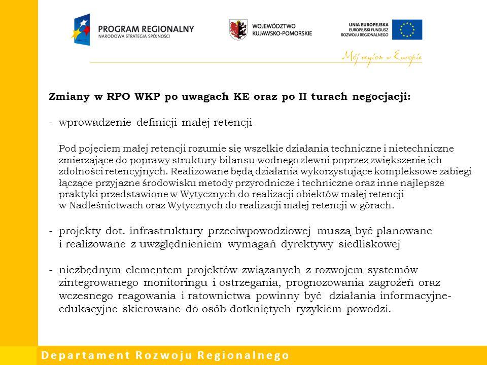 Zmiany w RPO WKP po uwagach KE oraz po II turach negocjacji: