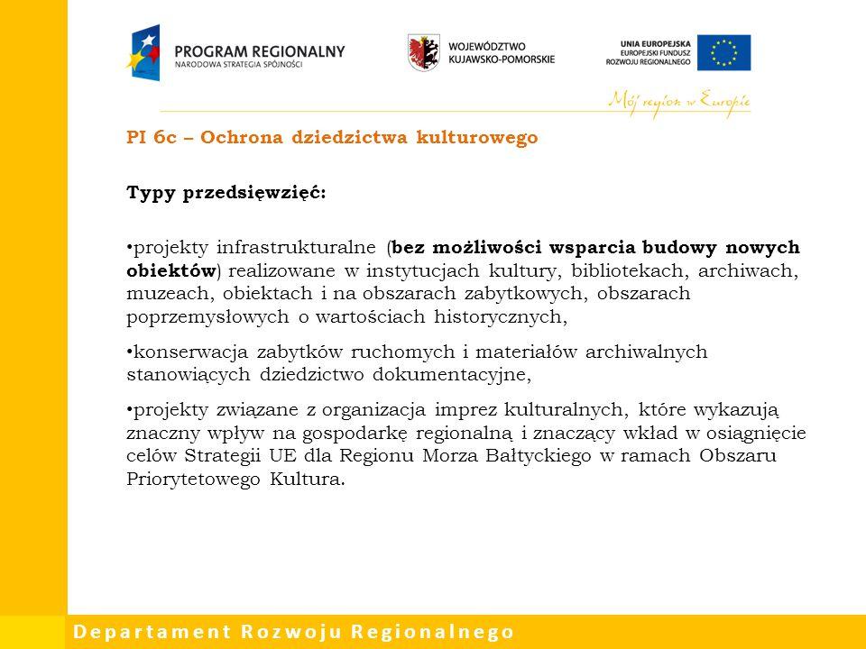 PI 6c – Ochrona dziedzictwa kulturowego Typy przedsięwzięć: