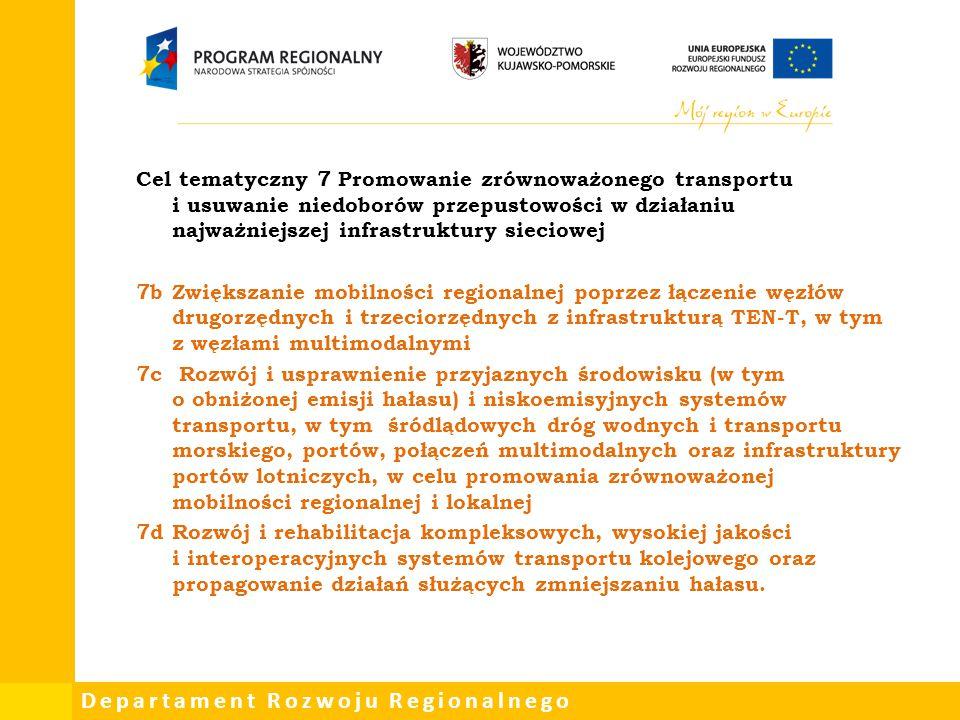 Cel tematyczny 7 Promowanie zrównoważonego transportu i usuwanie niedoborów przepustowości w działaniu najważniejszej infrastruktury sieciowej