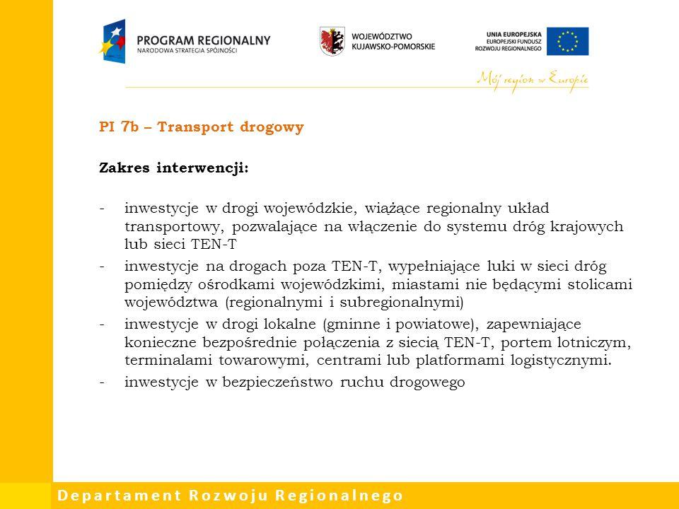 PI 7b – Transport drogowy Zakres interwencji: