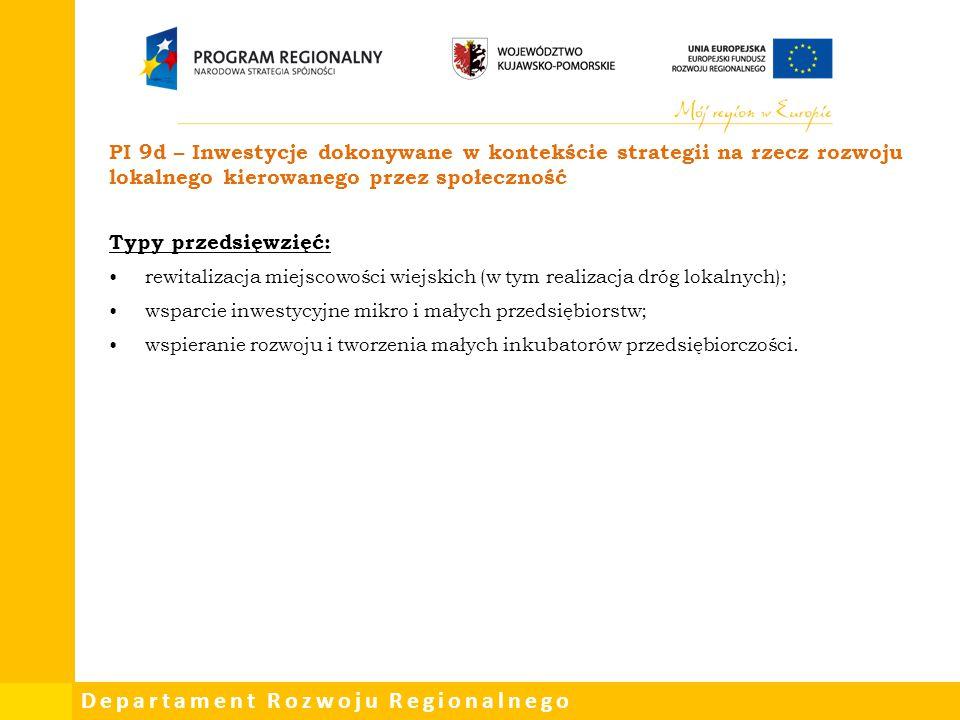 PI 9d – Inwestycje dokonywane w kontekście strategii na rzecz rozwoju lokalnego kierowanego przez społeczność