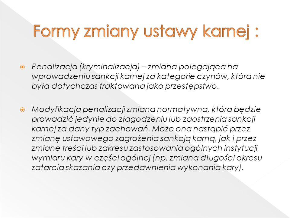 Formy zmiany ustawy karnej :