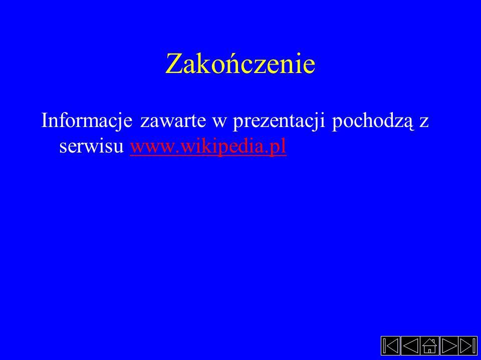 Zakończenie Informacje zawarte w prezentacji pochodzą z serwisu www.wikipedia.pl
