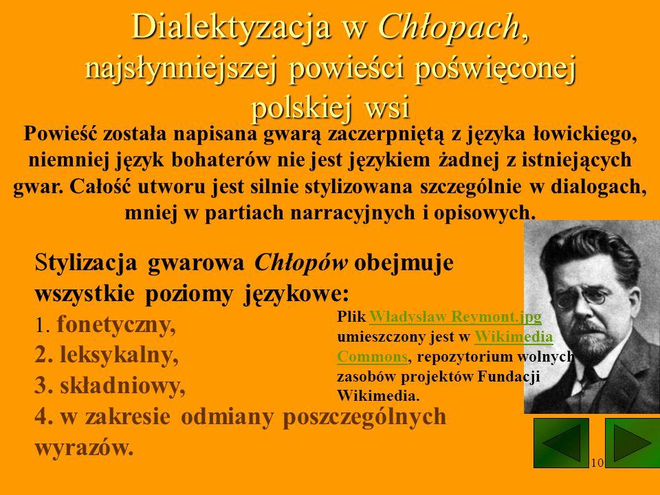 Dialektyzacja w Chłopach, najsłynniejszej powieści poświęconej polskiej wsi