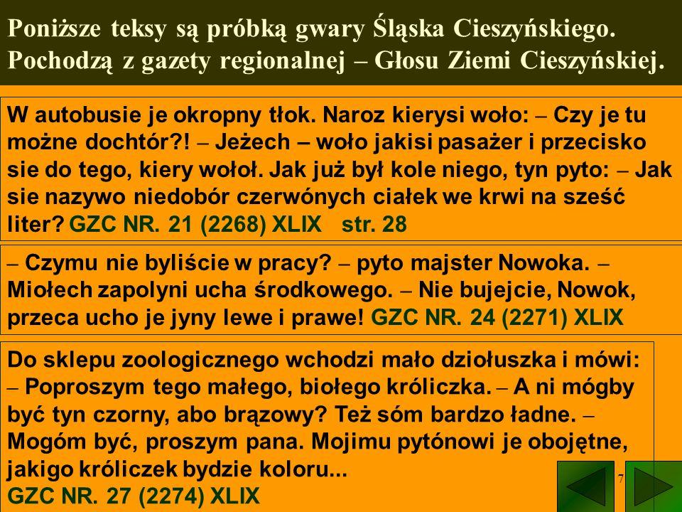 Poniższe teksy są próbką gwary Śląska Cieszyńskiego